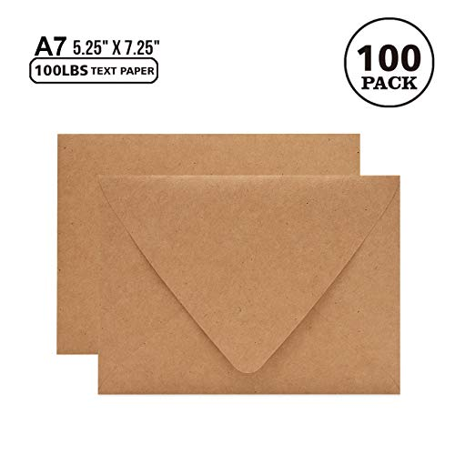 100 Pack 5x7 Brown Kraft Envelopes for Invitations - Quick Self Seal, V-Flap, Perfect for Weddings, Baby Shower,5x7 Cards,Party Invitation 5.25 x 7.25 Inches(A7 Envelopes Bulk)