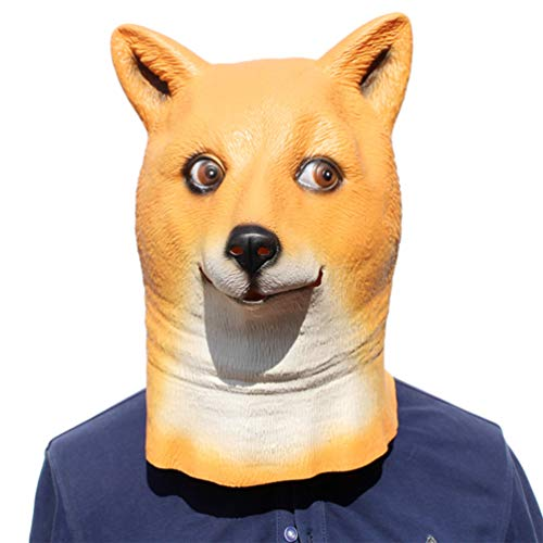 Novelty Funny Halloween Cosplay Costume Masquerade Party Latex Animal Shiba Inu Dog Head Mask]()