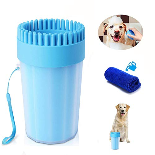 Dog Paw Cleaner with Towel, Portable Pet Cleaning Cup, Comfortable Silicone Dog Feet Cleaner, Dog Brush Cup for Pet…