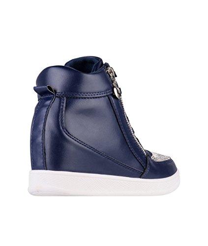 Hoge Schoenen Met Hoge Hakken Wedge Sneakers Lage Schoenen Met Hoge Hak Navy (5800)