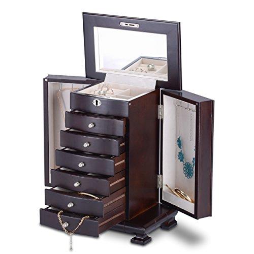 HERITAGE Schmuckkästen abschließbare Holz Schmuckkiste mit Schubladen, Espresso Schmuckschatulle Speicherorganisator
