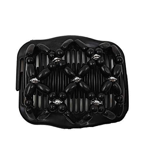 - Women Hair Accessories,Bead Stretchy Women Hair Combs Double Magic Wooden Comb Clip Hairpins (Black)