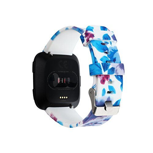 Fitbit Versa/Versa Lite Edition /Versa 2 Adjustable Printed Flora Bands, Sports Silicone Bands Replacement Accessories Classic Strap Bracelet for Fitbit Smart Watch for Man & Women (Blue and White (G)