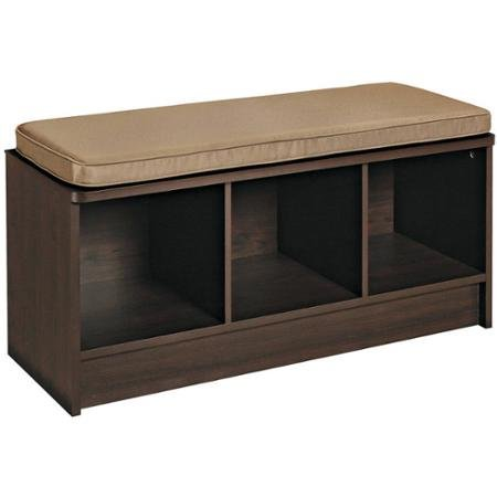 3-cube Storage Beddrom Bench, with Mocha Cushion Seating, Br