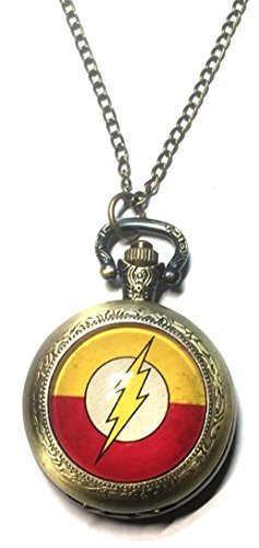 DC+Comics+Watches Products : DC's The Flash Lightning Bolt Bronze Finish Pendant Pocket Watch