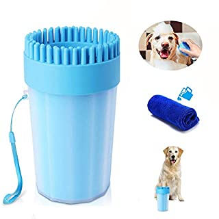 OCEAN HOME Dog Paw Cleaner with Towel, Portable Pet Cleaning Cup, Comfortable Silicone Dog Feet Cleaner, Dog Brush Cup for Pet Grooming