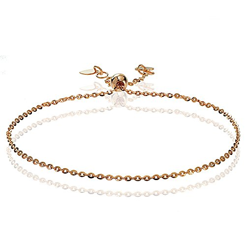 Bria Lou 14k Rose Gold 1.4mm Italian Diamond-Cut Cable Adjustable Chain Bracelet, 7-9 Inches by Bria Lou
