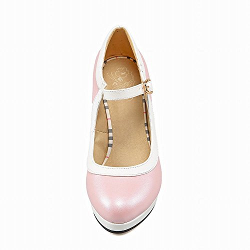 Carolbar Women's Assorted Color Lovely Stiletto High Heel Platform Court Shoes Pink BBaua