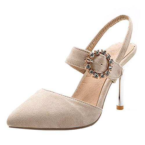 Slick Stiletto - Xinantime Women's High Heel Sandals Pointed Toe Ankle Strap Stiletto Pumps Shoes Dress Wedding Sandals Beige