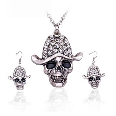 (1 Pc)European (Hooded Skull) as Picture Alloy Necklace and Earring