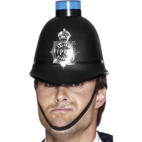 [Police Helmet with Flashing Siren Light] (British Police Hat Costume)