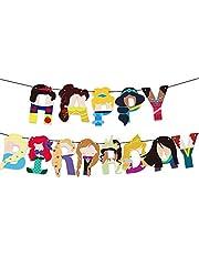 Dis-ney Princess Happy Birthday Banner, Princesses Birthday Decorations, Girl Birthday Party Supplies, Dis-ney Princess Themed Party Decorations