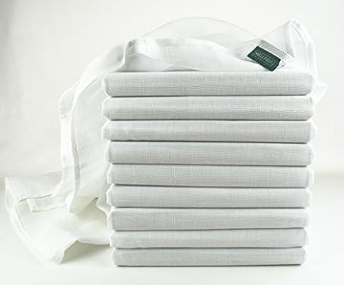 Gasas | algodón paños – 10 Unidades, 80 x 80 cm – Color Blanco ...