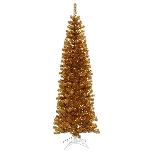 vickerman pre lit antique gold artificial tinsel pencil christmas tree with clear lights 75 - Pre Lit Christmas Trees Amazon
