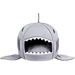 Aosbos Dog Cat Beds Shark Round Shape House with Removable Cushion Pet Beds for Small Dogs Puppy Kittens (Grey, Large)