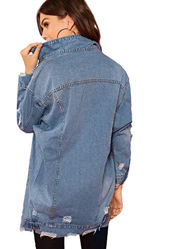 In Delle Di Donne Jean 1 Lavato Jeans Giacca Difficoltà Floerns Fidanzato Blu UBf8A