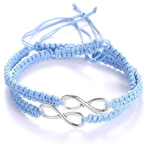 ECOLOG 2Pcs 8 Infinity Braided Bracelets Couple Braided Handcrafted Bracelet Luck Bracelet Jewelry Bangle Rope Adjustable Chain Infinity Forever Lovers FriendshipCouple Family (Blue)