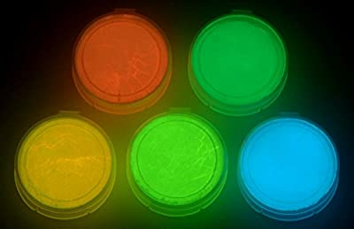 5 Color Pack Glow In The Dark Pigment Powder - 12g Each, 60g Total - Neutral Or Fluorescent Colors
