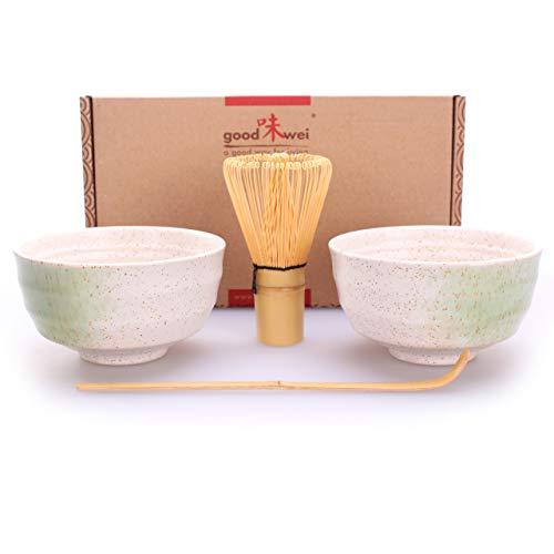 Goodwei Juego de Te Matcha para dos – Bol de te y batidor incl Caja de regalo (blanco)