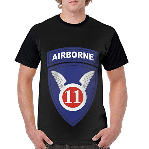 notebepisse Mens Circular Collar T-Shirt 11th Airborne Division Fashion Youth & Adult T-Shirt Black ()