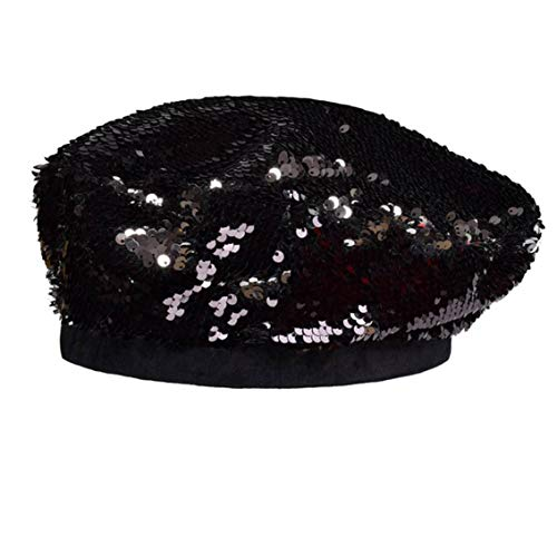UTOWO Womens Sequin-Beret Hats Shining Beanie Party (Black)