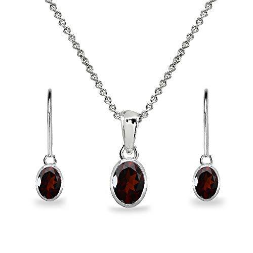 Sterling Silver Garnet Oval Bezel-Set Solitaire Dainty Necklace & Leverback Earrings Set for Women Teen Girls