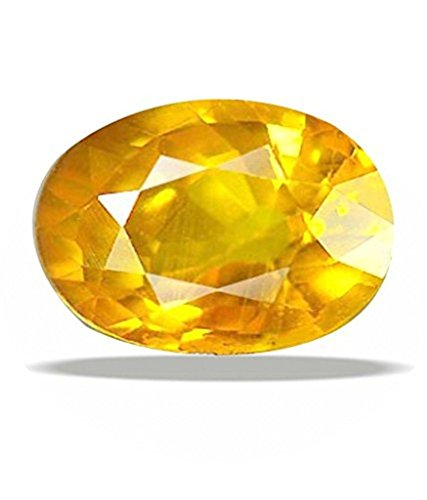 Natural Certified Gemstone Yellow Sapphire - Pukhraj 7 Ct. A Good Quality Gem Stone by GEMS HUB (Best Quality Yellow Sapphire Gemstone)