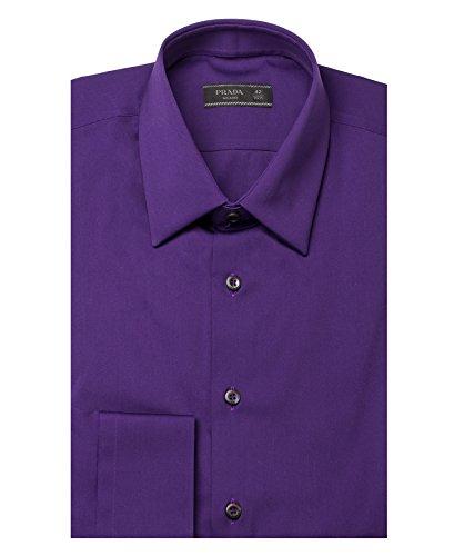 Prada Men's Spread Collar Stretch Cotton Dress Shirt Purple