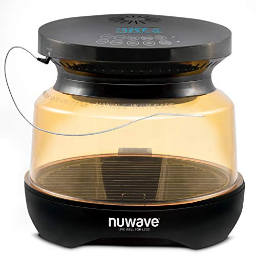 NUWAVE PRIMO Grill Oven with Integrated Digital Temp Probe for PERFECT Results; Convection Top & Grill Bottom for Surround Cooking; Cook Frozen or Fresh; Broil, Roast, Grill, Bake, Dehydrate & Air Fry