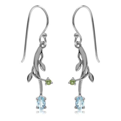 (Silvershake Genuine Blue Topaz and Peridot White Gold Plated 925 Sterling Silver Vine Leaf Dangle Hook Earrings )