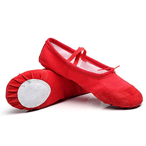 oobest Canvas Split Sole Practice Ballet Dancing Shoes Slipper Yoga Shoes for Children red QSaBEUcW
