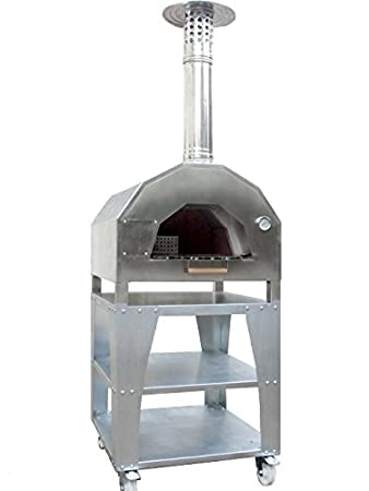 horno de leña, con carroa de acero inoxidable 304: Amazon.es ...