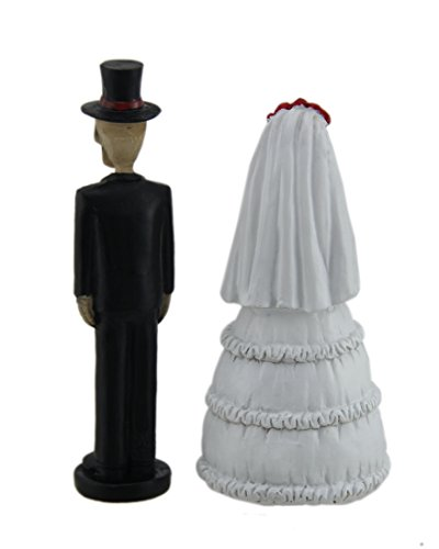 Day of the Dead Skeleton Wedding Couple Decorative Figurine 5'' Tall | Bride and Groom Mini Statue Wedding Cake Topper by DWK (Image #2)