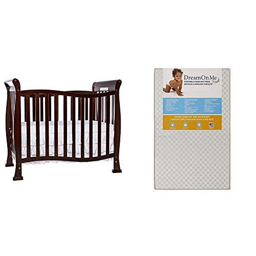 Dream On Me Violet 4 in 1 Convertible Mini Crib  with Dream On Me 3 Portable Crib Mattress, White