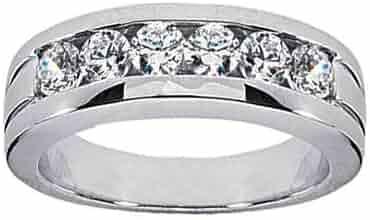 1.00 ct TW Men's Round Cut Diamond Wedding Band Ring in 14 kt White Gold