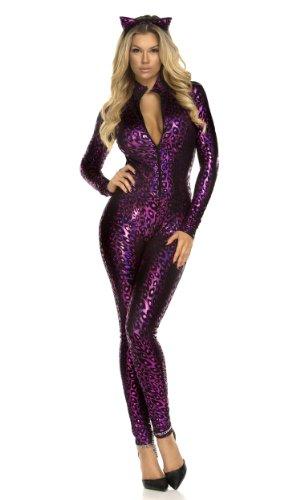 Forplay Women's Fancy Feline Catsuit and Headband, Purple,