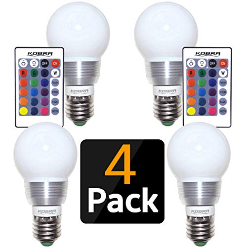 KOBRA LED Bulb Color Changing Light Bulb with Remote Control (4-Pack)16 Different Color Choices Smooth, Flash or Strobe Mode- Premium Quality & Energy Saving Retro LED Lamp