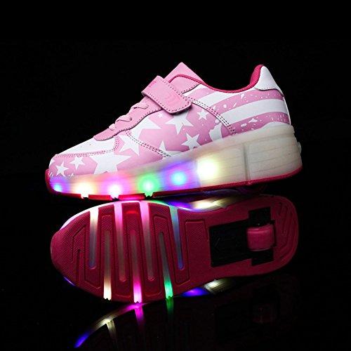 CICI Kind Jazzy Schuhe Junior Mädchen / Jungen LED Licht Schuhe Kinder Roller Skate Kinder Turnschuhe mit Rädern (4.5, Rosa)