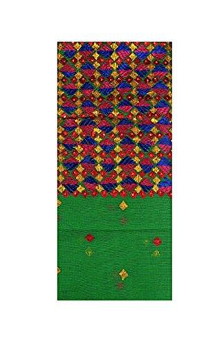 Exotic India Vibrant-Green Phulkari Embroidered Salwar Kameez Fabric From Punjab (Punjabi Best Shayari Ever)