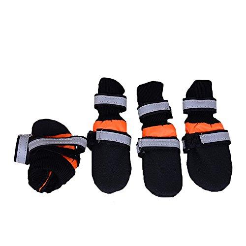 Ecloud Shop® cargadores del perro, perro zapatos con suela blanda contra el deslizamiento resistente al agua (naranja-L)