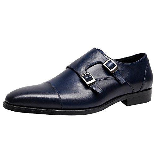 Mocasines Correa De Oxfords Vestir Zapatos Monje Hombres Boda Jamron Genuina Azul Negocios Formal Piel Doble wXzIUqC
