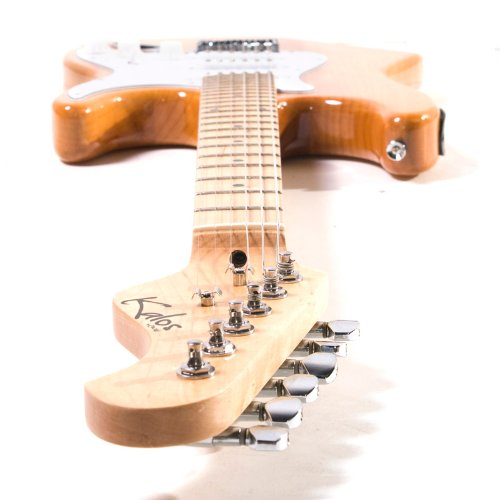 Kalos by Cecilio EGP-NW 39 Natural Wood Electric Guitar Package with 15 Watt Amp