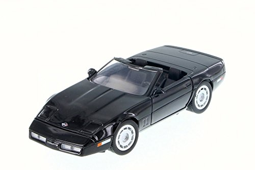 (Motor Max 1986 Chevy Corvette Convertible, Black 73298/16D - 1/24 Scale Diecast Model Toy Car but NO Box)