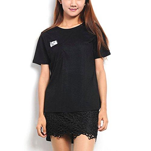 Rubyroom Damen T-shirt Mittel Finger Katze Tasche Sommer Shirts Top Schwarz M