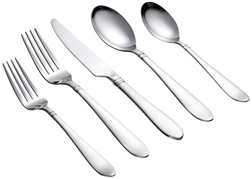 Farberware Annatto Satin 45-Piece Flatware Silverware Set, Stainless Steel, Service for 8, Includes Forks/Spoons/Knives