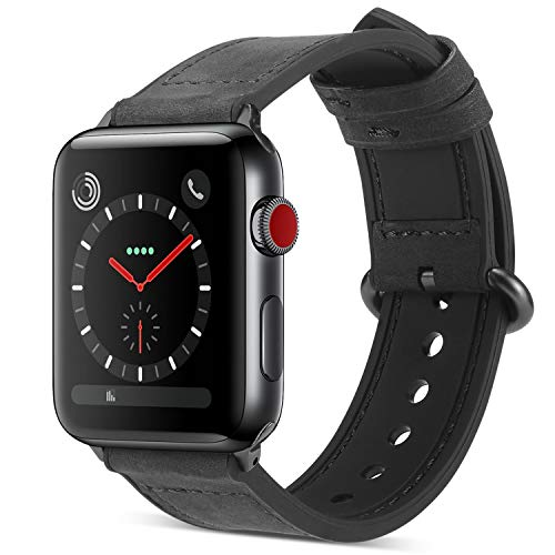 FanTEK Leather Bands Compatible with Apple Watch Band 44mm Slim Replacement Wristband Sport Strap Iwatch Series 4 (Black)