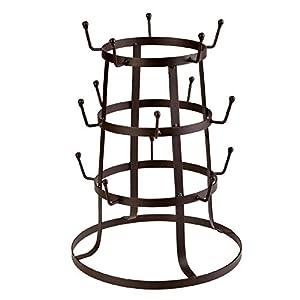 15 Hooks Vintage Rustic Iron Mug / Cup / Glass Bottle Organizer Tree Drying Rack Stand, Brown