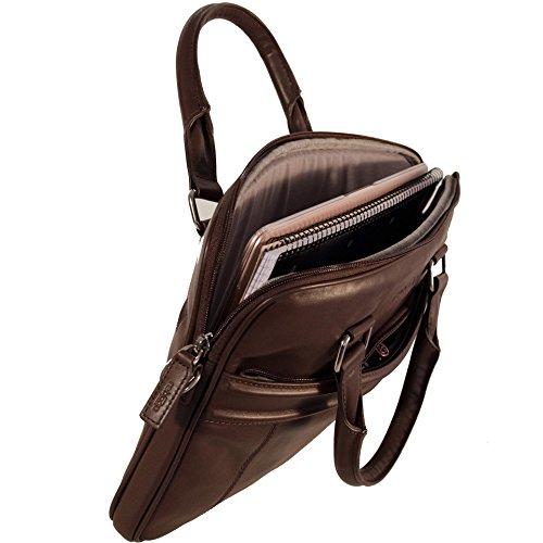 reboon Echt-Leder Laptop-Tasche in Braun Leder für ASUS S510UQ BQ165T 15 6 | 15 Zoll | Notebooktasche Umhängetasche | Damen/Herren - Unisex | Premium Qualität Braun Leder