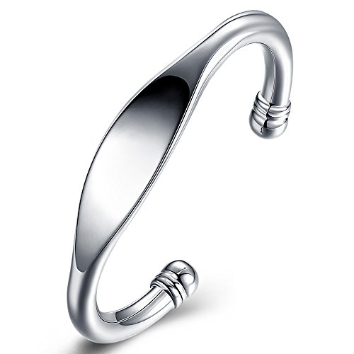 BEMI Cool Style 925 Sterling Silver Plated Double Head Bangle Bracelet Party C Cuff Bracelet for Woman Flat (Head Silver Bangles)
