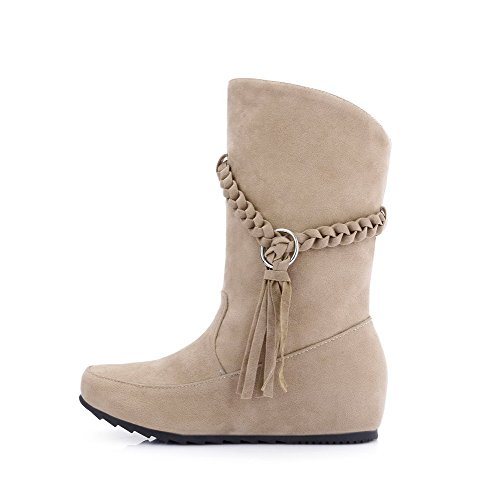 AgooLar Women's Frosted Pull-On Round Closed Toe Low-Heels Low-Top Boots Beige CFn2ivf8qI